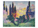 The Cypresses at Cagnes, 1908 Giclee Print by Henri Edmond Cross