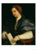 Lady with Book of Verse by Petrarch, c.1514 Giclée-tryk af Andrea del Sarto