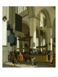 Interior of the Oude Kerk, Delft, with a Preacher Giclee Print by A. Storck