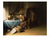 Old Man Lighting His Pipe in a Study Giclee Print by Gerrit or Gerard Dou