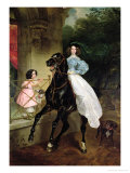 The Horsewoman, Portrait of Giovanina and Amacilia Paccini, Wards of Countess Samoilova, 1832 Giclee Print by Aleksandr Pavlovich Bryullov