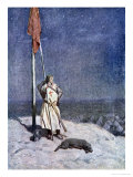 The Knight Stands Watch on St. Georges Mount with Banner, the Talisman: A Tale of the Crusaders Giclee Print by Simon Harmon Vedder