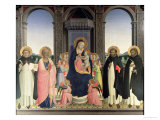 Virgin and Child Enthroned, Angels and St. Aquinas, St. Barnabas, St. Dominic and St. Peter, c.1422 Giclee Print by  Fra Angelico