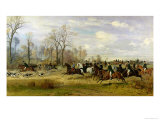 Emperor Franz Joseph I of Austria Hunting to Hounds with the Countess Larisch in Silesia, 1882 Giclee Print by Emil Adam