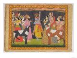 Krishna Lifting Mount Govardhana, from the Bhagavata Purana, Kulu, Himachal Pradesh, 1749 Giclee Print