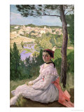 View of the Village, Castelnau, 1868 Giclee Print by Jean Frederic Bazille