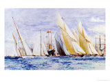 White Heather, Cambria, Alstra, Westward, Britannia, Lulworth and shamrock, Yachts, Cowes Giclee Print by Charles Edward Dixon