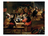 Monkeys in a Tavern, Detail of the Card Game Giclee Print by Ferdinand van Kessel