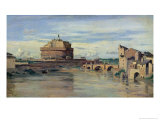Castel Sant' Angelo and the River Tiber, Rome Giclee Print by Jean-Baptiste-Camille Corot