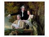 The Rev. D&#39;Ewes Coke, His Wife Hannah and Daniel Parker Coke, M.P., c.1780-82 Giclee Print by Joseph Wright of Derby