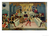 The Story of Alatiel Tavoli: Detail of the Banquet Giclee Print by Master Of The Jarves Chest
