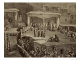 Funeral Ceremony, Ruins at Akhaltchi, Dagestan, Plate 70, Book on the Caucasus, Engraved by Le Roux Giclee Print by Grigori Grigorevich Gagarin