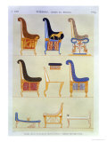 Various Painted Seats and Armchairs, 5th Tomb: Kings at the East, Byban El Molouk, c.1822 Giclee Print by Andre Dutertre