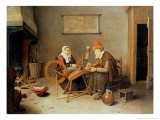 Interior with a Old Woman at a Spinning Wheel, 1657 Reproduction proc&#233;d&#233; gicl&#233;e par Gerritsz. Quiryn Van Brekelenkam