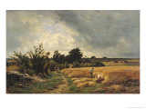 The Plateau of Ormesson - a Path Through the Corn Giclee Print by Francois Louis Francais