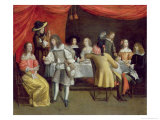 Elegant Company Dining Beneath a Red Canopy Giclee Print by Hieronymus Janssens