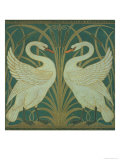 Wallpaper Design For Panel of Swan, Rush and Iris Lámina giclée por Crane, Walter