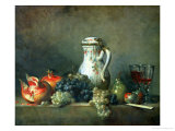 Still Life with Grapes and Pomegranates, 1763 Giclee Print by Jean-Baptiste Simeon Chardin
