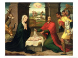 The Adoration of the Shepherds, 1550-60 Giclee Print by Juan Correa de Vivar
