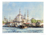 Yeni Jami and St. Sophia, Golden Horn, Plate 9, Illustrations of Constantinople, Engraved Pub. 1838 Giclee Print by John Frederick Lewis