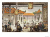 Jugglers Exhibiting in the Court of a Mandarin's Palace, 'China in a Series of Views' G.N. Wright Giclee Print by Thomas Allom