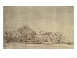 Winter Landscape with Cottages Among Trees, c.1650 Giclee Print by  Rembrandt van Rijn