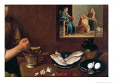 Kitchen Scene with Christ in the House of Martha and Mary Giclee Print by Diego Rodriguez de Silva y Velasquez