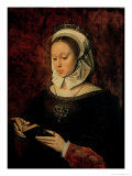 Young Woman Reading a Book of Hours Giclee Print by Ambrosius Benson