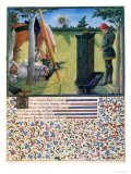 Young Knight Stands Before a Gravestone, Livre du Coeur D'Amours Espris by Rene D'Anjou, 1465 Giclee Print