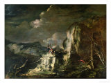 Rocky Landscape with a Huntsman and Warriors Giclee Print by Salvator Rosa