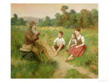 Children Listen to a Shepherd Playing a Flute Giclee Print by R. Alsina