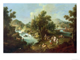 Landscape with a River and Dancing Peasants Giclee Print by Giuseppe Zais