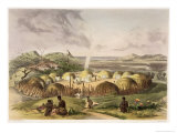 Zulu Kraal Near Umlazi, Natal, Plate 27 from The Kafirs Illustrated, 1849 Giclee Print by George French Angas