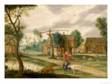 Village Landscape with a Woman Drawing Water from a Well Giclee Print by Isaak van Oosten