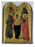 St. Francis, St. Jerome, St. Philip, St. Catherine and a Bishop Saint, c.1444 Giclée-tryk af Neri Di Bicci