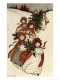 Little Girls with Holly and the Christmas Tree Giclee Print by Florence Hardy