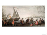 Skaters and a Golf Party on the Ice Giclee Print by David Vinckboons
