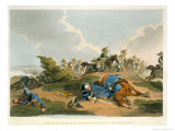 Prince Blucher under His Horse at the Battle of Waterloo, Engraved by Matthew Dubourg Lmina gicle por John Augustus Atkinson