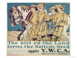 The Girl on the Land Serves the Nation's Need, World War I Ywca Poster Giclee Print by Edward Penfield