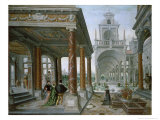 Cappricio of Palace Architecture with Figures Promenading, 1596 Giclée-Druck von Hans Or Jan Vredeman De Vries
