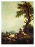 Landscape with Peasants Watching a Herd of Cattle Giclee Print by Francesco Zuccarelli