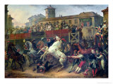 Scene of an Unmounted Horse Race in Rome Giclee Print by Antoine Charles Horace Vernet