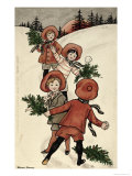 Children with Holly Throwing Snowballs Giclee Print by Florence Hardy