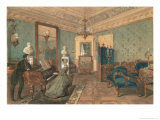 Interior of the Drawing Room in the House of Baron Stieglitz in St. Petersburg, 1841 Giclee Print by Pyotr Fyodorovich Sokolov