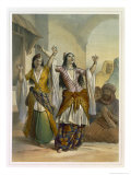 Egyptian Dancing Girls Performing the Ghawazi, Rosetta, The Valley of the Nile Reproduction proc&#233;d&#233; gicl&#233;e par Achille-Constant-Th&#233;odore-&#201;mile Prisse d&#39;Avennes