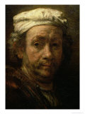 Portrait of the Artist at His Easel, Detail of the Face, 1660 Giclee Print by  Rembrandt van Rijn