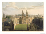 All Souls College, Ttop of Radcliffe Library, History of Oxford, Engraved by J. Bluck Giclee Print by Augustus Charles Pugin