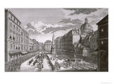 View of a Procession in the Graben Engraved by Georg-Daniel Heumann Giclee Print by Salomon Kleiner