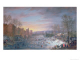 Ice Skating on the Stadtgraben in Brussels, 1649 Giclee Print by Robert Van Den Hoecke