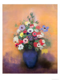 Anemones and Lilac in a Blue Vase, After 1912 Giclee Print by Odilon Redon
